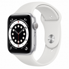 Apple Watch S6 44mm Silver Aluminum Case / White Sport Band
